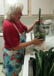 Chopping kale in food processor