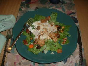 Salad with leftover Thai flounder